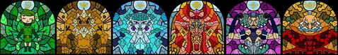 The stained glass windows of the Sages in Wind Waker