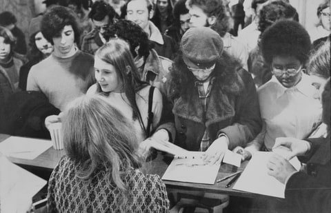 Fans register at the first 'Star Trek' convention in January, 1972.