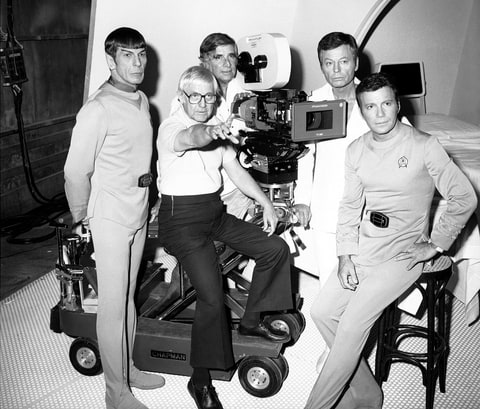 Director Robert Wise, second from left, and the cast of 'Star Treak: The Motion Picture.