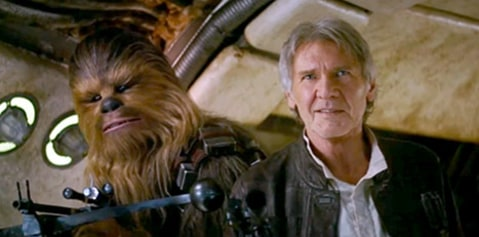 Star Wars Harrison Ford and Chewbacca