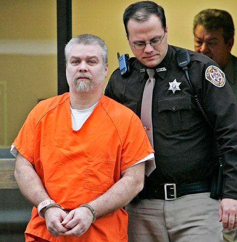 Steven Avery is escorted out of a Manitowoc County Courtroom after his arraignment.