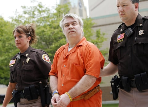 Steven Avery is escorted to the Manitowoc County Courthouse for his sentencing on June 1, 2007, in Manitowoc, Wisconsin.