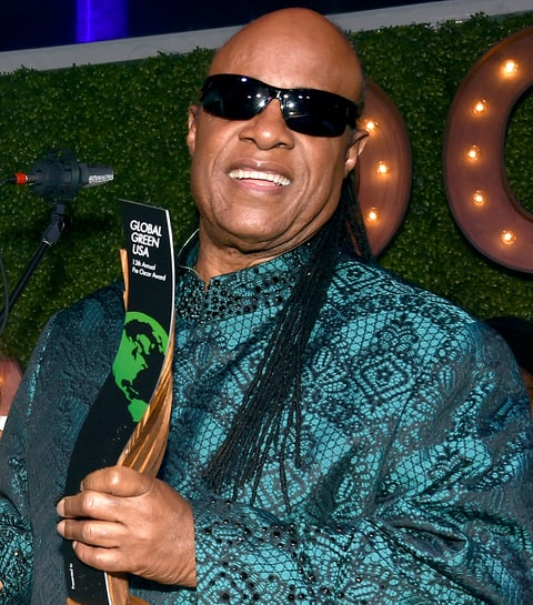 Stevie Wonder accepts the Global Green Hero Award onstage during Global Green USA's 13th annual Pre-Oscar Party at Mr. C Beverly Hills on Feb. 24, 2016, in Los Angeles.