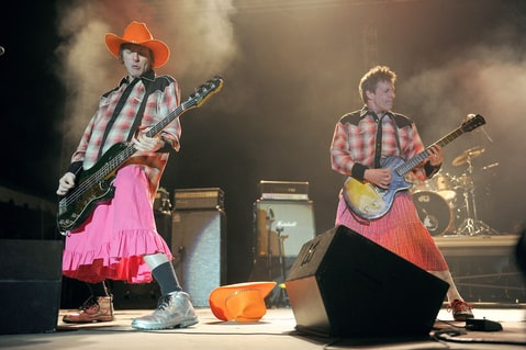 Tommy Stinson, left, and Paul Westerberg of the Replacements performs during Riot Fest at May Farms on Saturday, September 21, 2013 in Byers, Colorado.