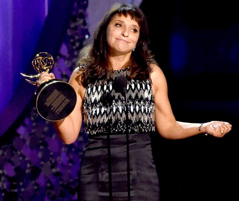 Director Susanne Bier accepts Outstanding Directing for a Limited Series, Movie or Dramatic Special for 'The Night Manager' during the 68th Emmy Awards show on Sept. 18, 2016.