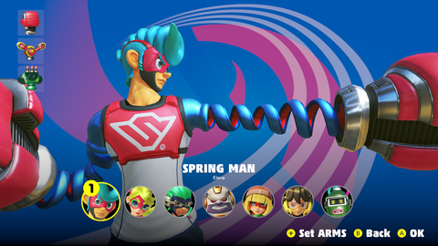 Spring Man was the first character designed for 'Arms'