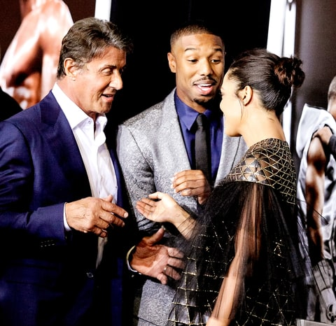 Sylvester Stallone, Michael B. Jordan and Tessa Thompson attend the premiere of Warner Bros. Pictures' 'Creed' at Regency Village Theatre on November 19, 2015 in Westwood, California.