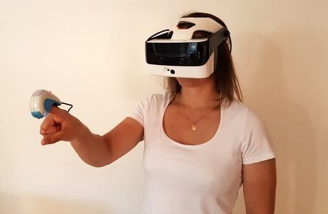 Tactai VR Touch set in use