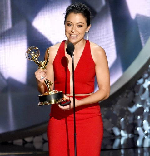 Tatiana Maslany accepts the award for Outstanding Lead Actress in a Drama Series for 'Orphan Black' at the 68th Primetime Emmy Awards on Sunday, Sept. 18, 2016, at the Microsoft Theater in Los Angeles.