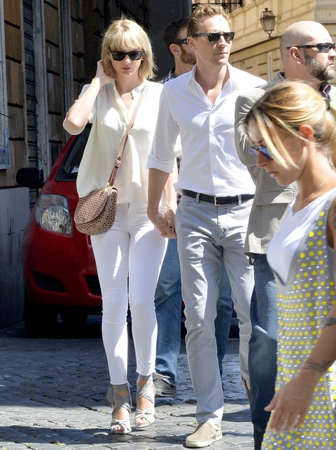Taylor Swift is seen with Tom Hiddleston having breakfast near Piazza Navona in Rome, Italy.