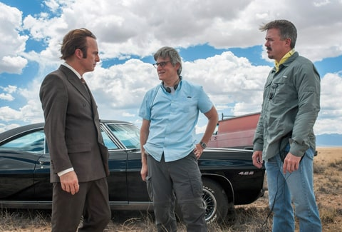 Bob Odenkirk, series creator Peter Gould, series creator Vince Gillian on-set