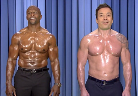 Terry Crews and Jimmy Fallon shirtless
