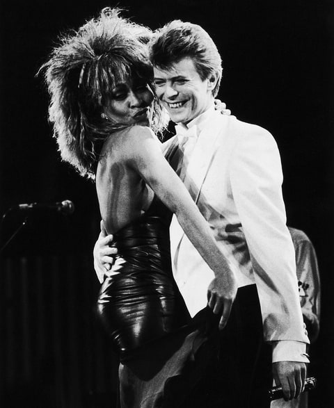 David Bowie and Tina Turner perform on stage at the NEC Birmingham in 1985.