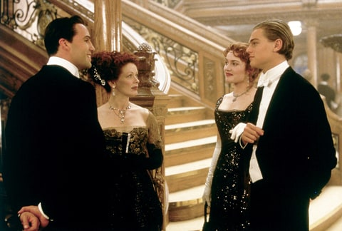 Billy Zane, Frances Fisher, Kate Winslet, and Leonardo DiCaprio in 1997's Titanic.