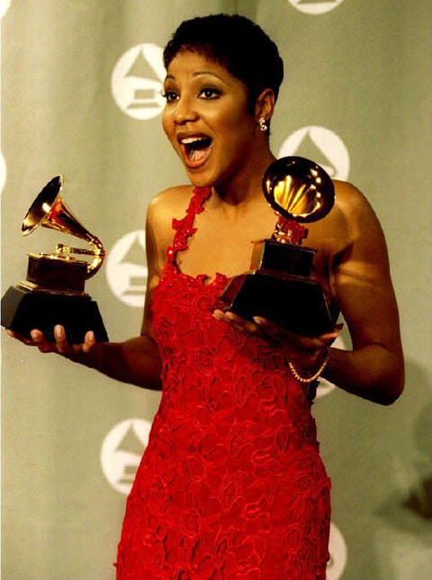 Toni Braxton holds the two Grammy Awards she won 01 March 1994 at the 36th Annual Grammy Awards held at Radio City Music Hall in New York. Braxton won for best R&B Vocal Performance by a female and also for being Best New Artist
