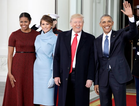 Barack Obama and Michelle Obama greets Donald Trump and his wife Melania Trump at the White House in Washington, Friday, Jan. 20, 2017.