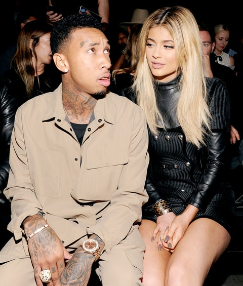 Tyga and Kylie Jenner attend the Alexander Wang Spring 2016 fashion show.