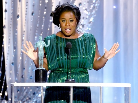 Uzo Aduba accepts Outstanding Performance by a Female Actor in a Comedy Series for 'Orange Is the New Black' during the 22nd Annual Screen Actors Guild Awards.