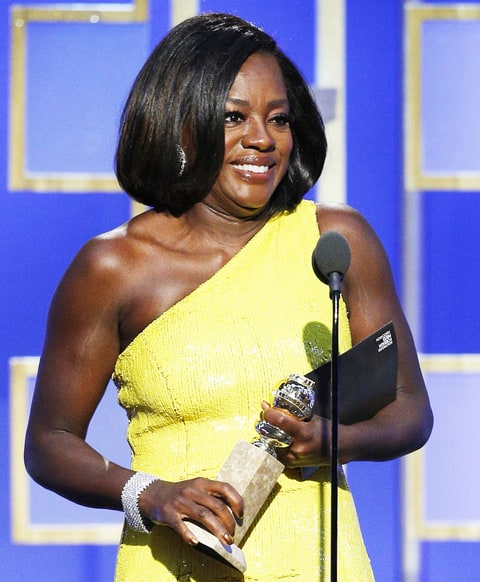 Viola Davis accepts the award for Best Supporting Actress - Motion Picture for her role in