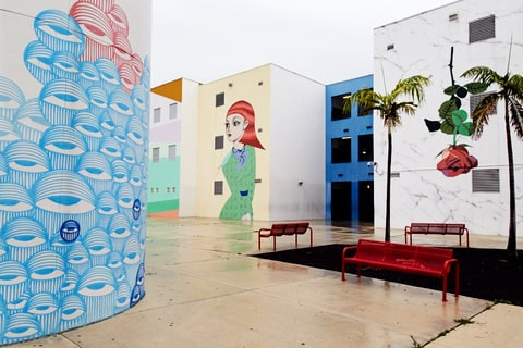 Jose De Diego Middle School, Murals By (from Left) Ahol Sniffs Glue,  Santiago Rubino And Typoe (far Right). David Cabrera For Rolling Stone Part 87