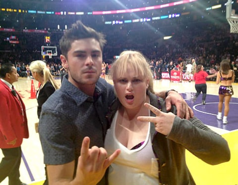 Zac Efron and Rebel Wilson lakers game