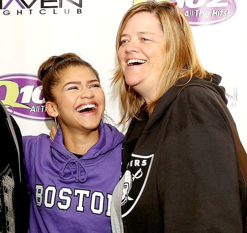Zendaya Coleman poses with mother Claire Stoermer at the Q012 Performance Theater October 17, 2013 in Bala Cynwyd, Pennsylvania.