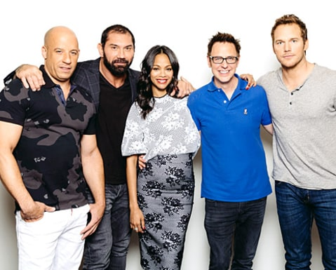 Zoe Saldana and Guardians cast