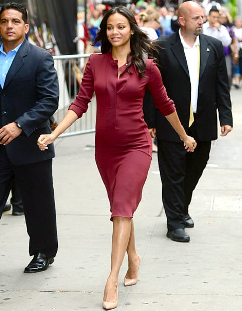 Zoe Saldana - maroon dress