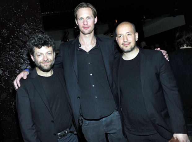 Alexander Skarsgard (center) with Andy Serkis and director Tarik Saleh