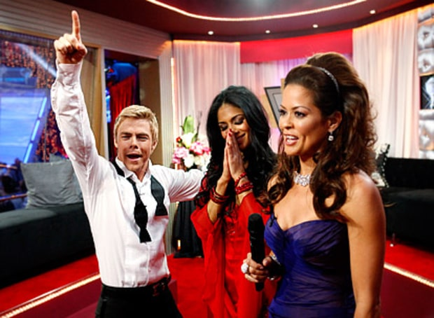 Derek Hough, Nicole Scherzinger and Brooke Burke