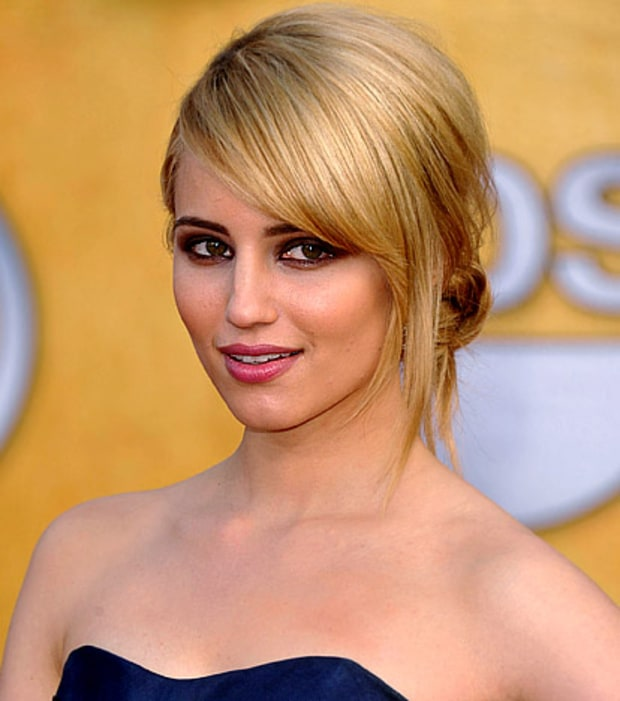 Dianna Agron's Brown Smoky Eyes and Asymmetrical Updo