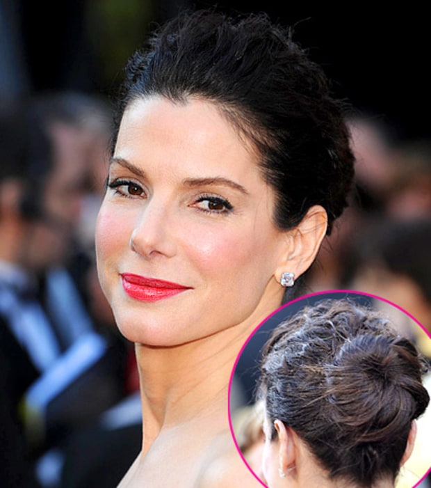 Sandra Bullock's Elegant Updo and Red Lips