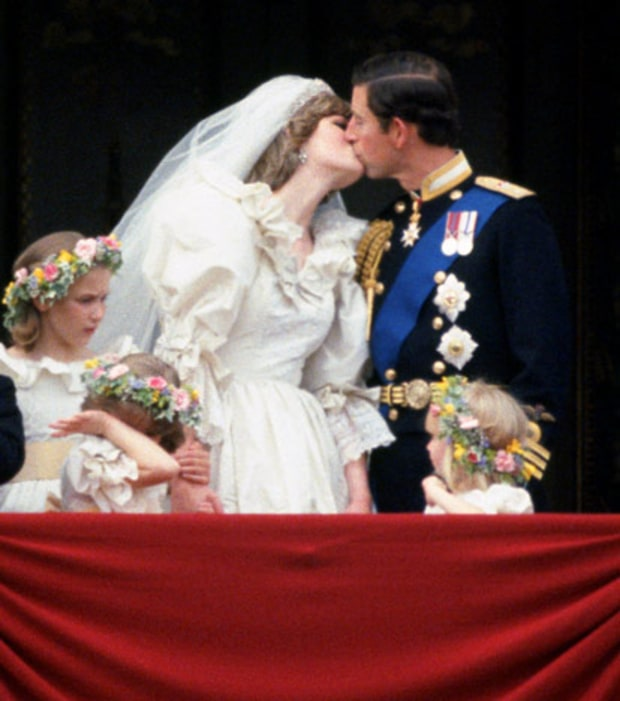 Diana and Charles First Married Smooch