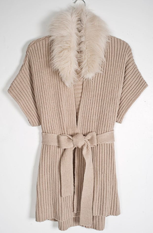 Jennifer Lopez Faux-Fur Ribbed Sweater Coat