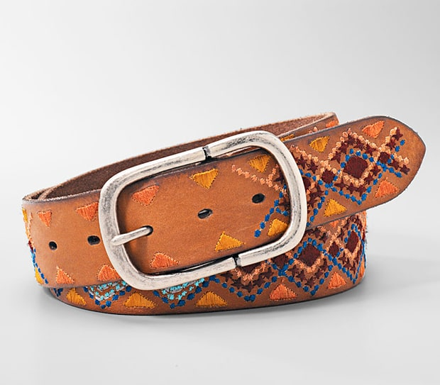 Fossil Geometric Embroidery Belt