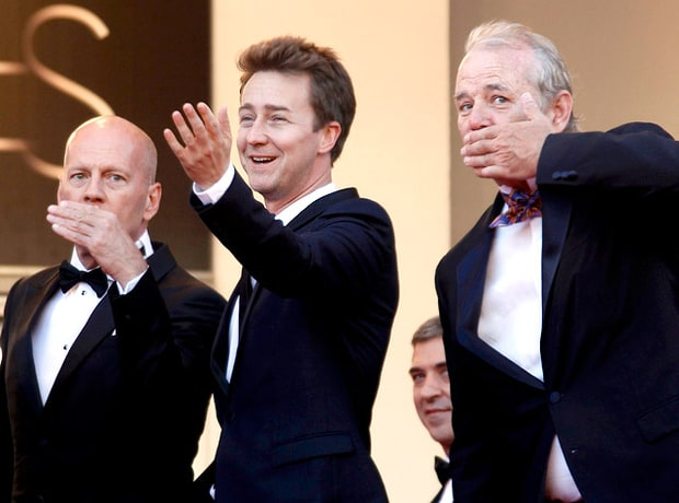 Bruce Willis, Edward Norton and Bill Murray