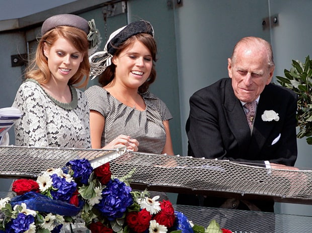 Princess Beatrice, Princess Eugenie and Prince Phillip