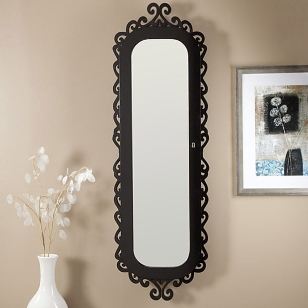 Wall scroll locking jewelry armoire celebrity home style for Long black wall mirror