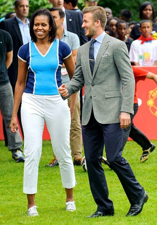 Michelle Obama and David Beckham