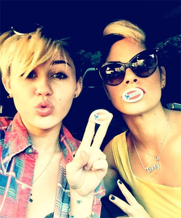 Miley Cyrus 2012 Election Celebrities Cast Their Vote