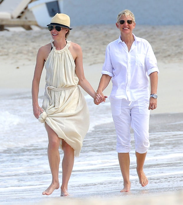 Portia De Rossi Wedding Gown: Portia De Rossi, Ellen DeGeneres: Sand In Their Toes