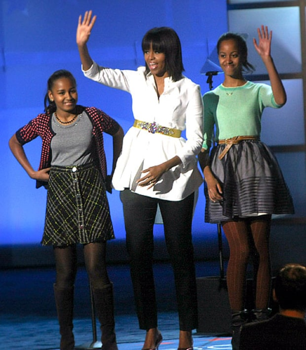 First Lady Michelle Obama and Daughters Sasha and Malia