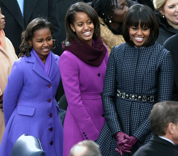 Sasha, Malia, and Michelle Obama