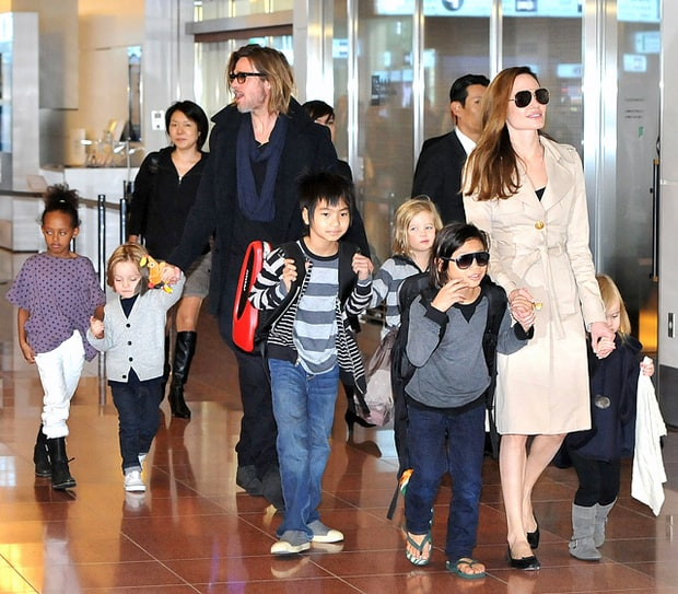Brad and Shiloh, Vivienne and Zahara Jolie-Pitt