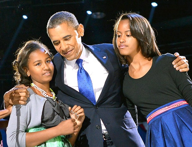 President Barack Obama, Sasha and Malia
