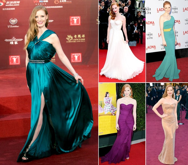 Jessica Chastain's Chic Red Carpet Looks