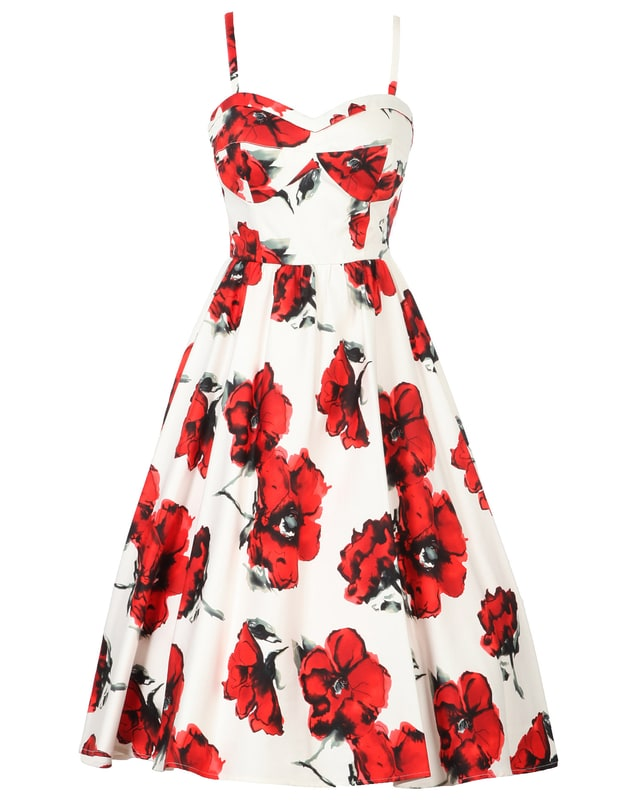 Crimson Rose Swing Dress