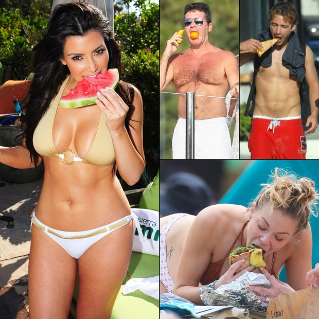 Celebs Stuffing Their Faces At the Beach