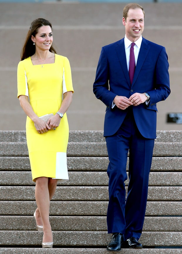 On Kate Middleton's Canary Yellow Roksanda Ilincic Dress Arriving to Australia (Apr. 2014)