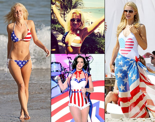 Stars in Patriotic Bikinis: Celebs Rock Red, White, and Blue